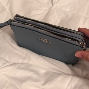 Double Zipper Coach Wristlet